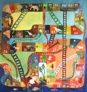 Musikalisches Leiterspiel - Familien-Sommerwoche im Museum Rietberg 2008 - Spieltuch / Art by Arun VC