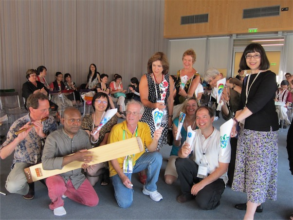 """Participants in our workshop titled """"A Musical Lotuspond"""" at the ISME world conference in Thessaloniki"""